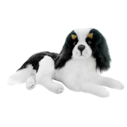 Bocchetta Snuggles Cavalier King Charles Spaniel Dog Stuffed Animal Soft Plush Toy, 45 cm Height, Black/White/Tan