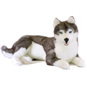 Bocchetta Rocco Siberian Husky Lying Stuffed Animal Soft Plush Toy, 64 cm Height