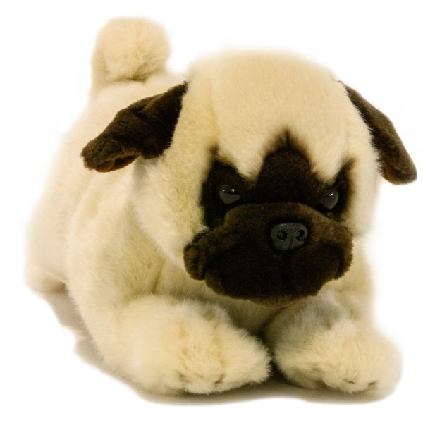 Bocchetta Pepito Pug Puppy Stuffed Animal Soft Plush Toy, 28 cm Height, Fawn