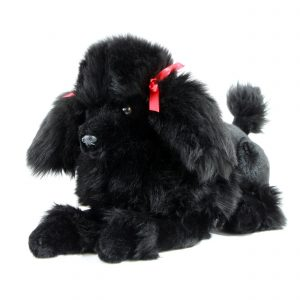 Bocchetta Romeo Poodle Crouching Stuffed Animal Soft Plush Toy, 30 cm Height, Black