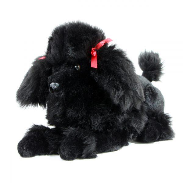 Bocchetta Romeo Poodle Crouching Stuffed Animal Soft Plush Toy, 30 cm Height, Black