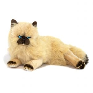 Bocchetta Violet Himalayan Cat Lying Stuffed Animal Soft Plush Toy, Medium, White