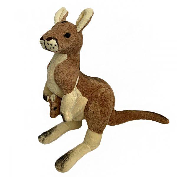 Bocchetta Tess Kangaroo with Joey Stuffed Animal Soft Plush Toy, 33 cm Height, Red