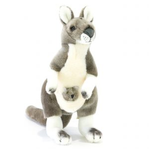 Bocchetta Tracy Kangaroo with Joey Stuffed Animal Soft Plush Toy, 28 cm Height, Grey