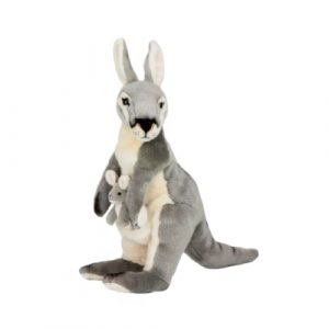 Bocchetta Trudy Kangaroo with Joey Stuffed Animal Soft Plush Toy, 41 cm Height, Grey