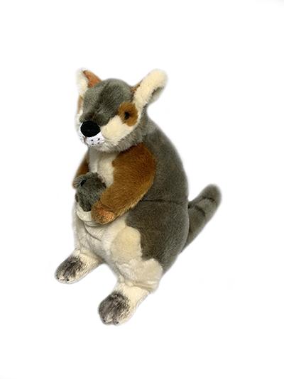 Bocchetta Wattle Rock Wallaby with Joey Stuffed Animal Soft Plush Toy, 27 cm Height